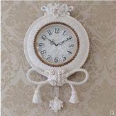 【衫衫來時】白色歐式掛鐘靜音美式石英家用田園掛錶時鐘