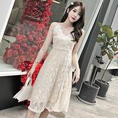 出清388 韓國風甜美露背氣質V領顯瘦蕾絲細肩帶無袖洋裝