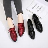 單鞋春秋季新款時尚亮面漆皮尖頭單鞋中跟粗跟歐美英倫女鞋繫帶小皮鞋 伊韓時尚