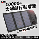 15W 10000mAh太陽能行動電源 18W PD快充 充電 戶外 旅遊 露營
