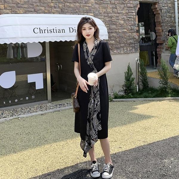 小中大尺碼洋裝連身裙~女神范氣質裙子不規則西裝領撞色拼接風衣式連身裙女 GD423A日韓屋