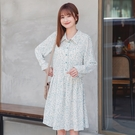 《DA8026-》優雅葉紋印花襯衫領寬版雪紡洋裝 OB嚴選