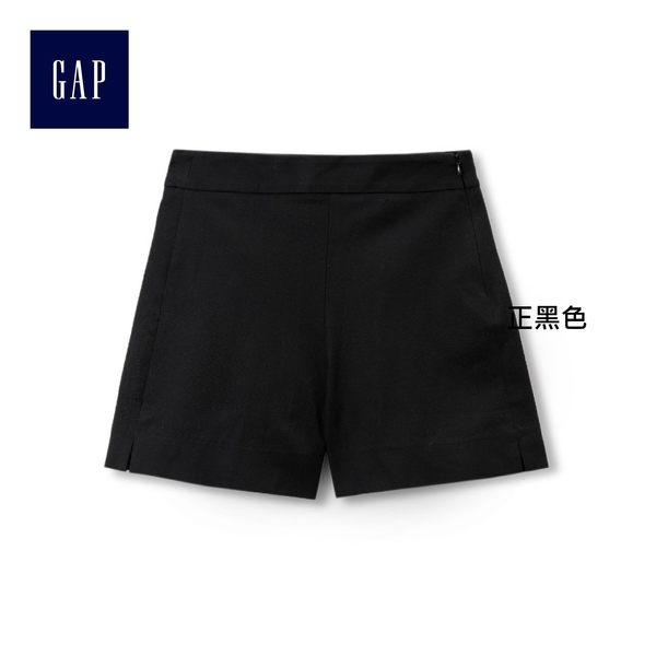 Gap女裝 雙彈寬鬆高腰短褲 282704-正黑色