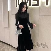 赫本風小黑裙假兩件蕾絲拼接絲絨復古洋裝女秋冬長袖打底裙內搭 雙十二全館免運