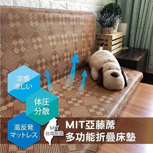 【南紡購物中心】【安迪寢飾店】MIT亞藤蓆折疊床墊-雙人加大6尺