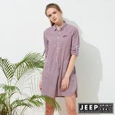 【JEEP】女裝 甜美造型格紋襯衫式外套-紅藍格