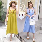 大尺碼  韓版夏季新款大碼女裝 胖mm加大加肥印花系帶連身裙