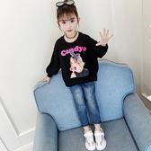 女童T恤2019秋季新款洋氣衛衣韓版時尚打底衫中大童休閒長袖上衣『快速出貨』