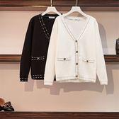 針織衫外套 2019微胖MM新款小香風時尚毛衣大碼寬鬆顯瘦很仙的針織衫上衣