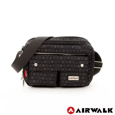 AIRWALK- 【禾雅】邁阿密圖騰 滿版LOGO 防潑水 小容量 雙口袋方塊側背包 - 黑色