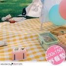 戶外便攜式格紋野餐墊 防潮墊 一體式收納 200x150