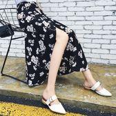 雪紡半身裙女夏韓版百搭一片式小碎花繫帶時尚高腰中長款沙灘裙子艾維朵