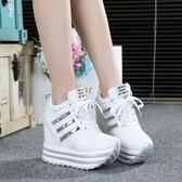 增高鞋 鬆糕鞋女韓版厚底帆布鞋繫帶內增高單鞋女坡跟超高跟【韓國時尚週】