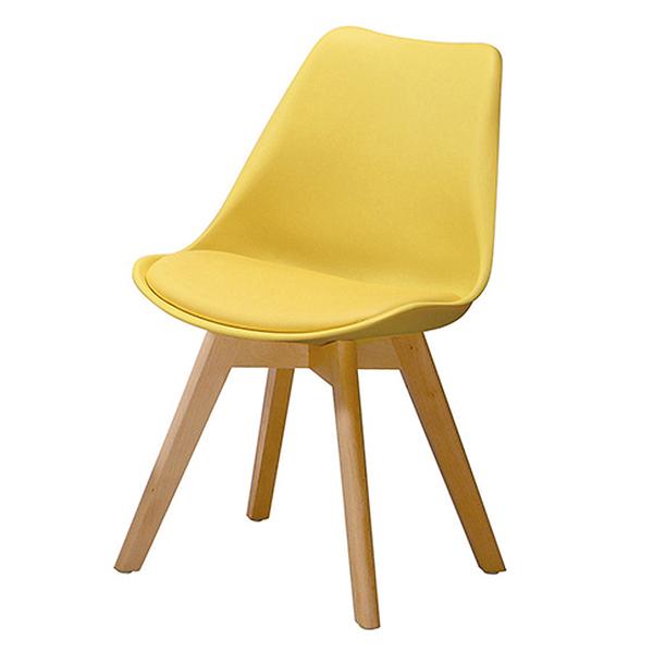 【森可家居】迪古黃色餐椅 10ZX717-11 實木 北歐風