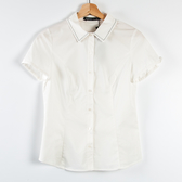 【MASTINA】明線尖領短袖襯衫-白 秋冬嚴選