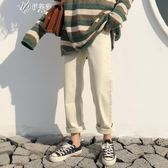 春夏韓版百搭休閒褲女寬鬆微直筒褲純色捲邊長褲學生褲子         伊芙莎