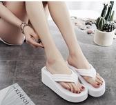 高跟人字拖女夏時尚外穿厚底夾腳網紅拖鞋新款沙灘坡 春季特賣