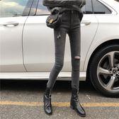 港味復古風高腰牛仔褲女韓版修身顯瘦破洞潮流鉛筆褲女  米菲良品