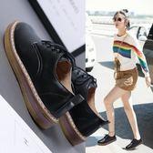 黑色小皮鞋女夏2018新款正韓百搭森系單鞋女平底英倫風鞋子女 99狂歡購物節