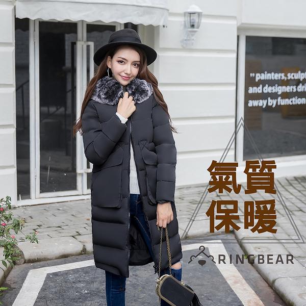 鋪棉外套--禦寒暖感可拆式毛毛領雙大口袋雙拉鍊連帽中長版羽絨外套(黑XL-3L)-J310眼圈熊中大尺碼