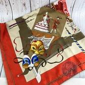 BRAND楓月 HERMES 愛馬仕 橘紅 假面 宴會 派對 絲巾 90X90 配件 服飾