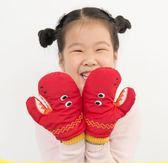 兒童掛脖手套冬季加絨加厚保暖