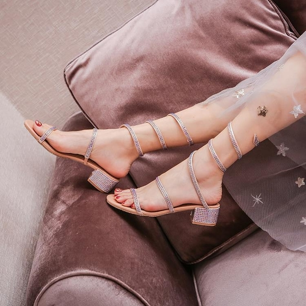 涼鞋 新款夏季水鑚蛇形纏繞涼鞋女百搭時裝羅馬高跟鞋粗跟仙女風-Ballet朵朵