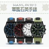 HANLIN-9913 日期顯示-軍風石英手錶
