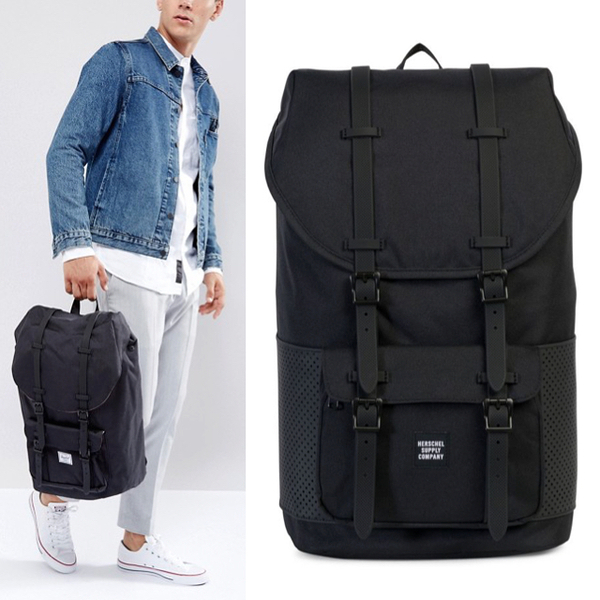 Hsin 85折 現貨 Herschel Little America 大型 Aspect 全黑 黑色 網布 橡膠帶 帆布 防潑水 大容量 後背包