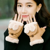 手套 手套女冬翻蓋甜美可愛保暖女生冬天無指百搭學生韓版潮半指卡通萌【限時八折】