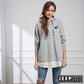 【JEEP】女裝 假兩件式甜美休閒長袖帽TEE (灰)