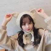 ins毛線耳罩女冬季保暖可愛貓耳朵耳暖韓版復古針織系帶耳包耳套 安妮塔小舖