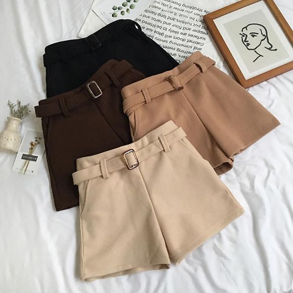 VK旗艦店 韓國風百搭高腰chic毛呢靴褲單品短褲