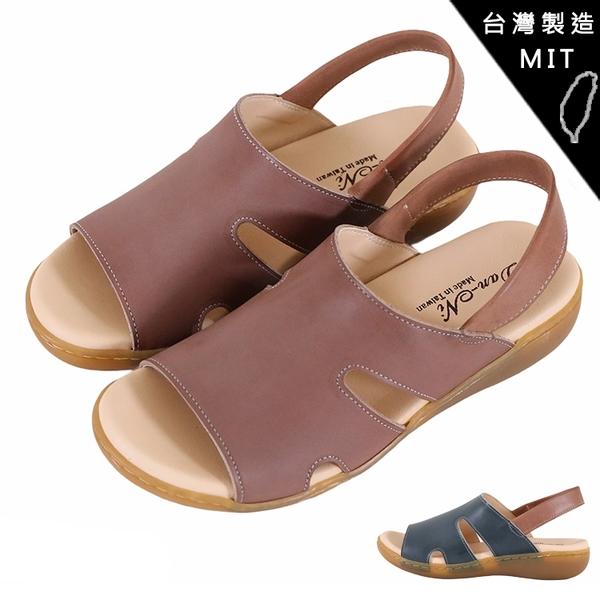 女款 H64一片復古造型後拉式楔形涼鞋 真皮氣墊涼鞋 厚底涼鞋 台灣製造手工鞋 59鞋廊