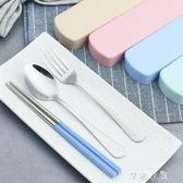 湯匙 創意不銹鋼餐具三件套勺子筷子套裝便攜學生2件韓版長柄可愛韓式  芊惠衣屋