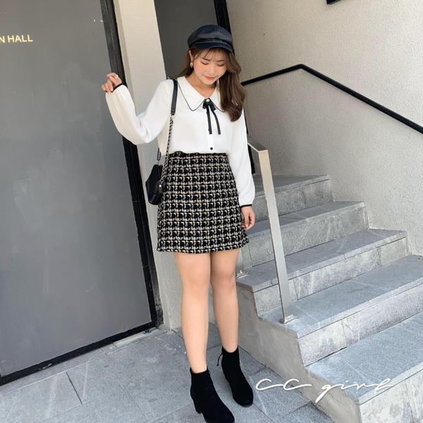 中大尺碼 氣質學院風排釦娃娃領襯衫(附領結別針) - 共兩色 - 適XL~4L《 79143 》CC-GIRL