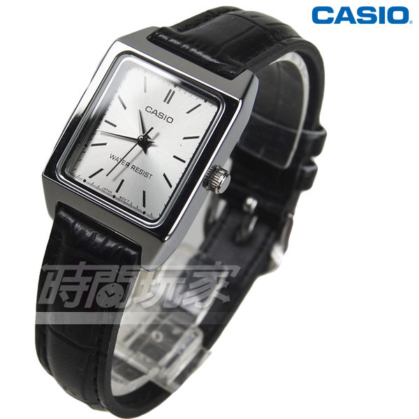 CASIO卡西歐 LTP-V007L-7E1 休閒風尚方型石英錶 真皮女錶 防水手錶 方形 學生錶 黑 LTP-V007L-7E1UDF