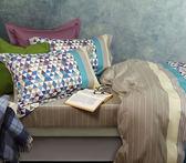 【金‧安德森】精梳棉《高地》床包四件組(藍)