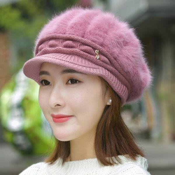 帽子帽子女秋冬天加絨加厚護耳保暖帽貝雷帽鴨舌針織帽兔毛帽毛線帽女-大小姐韓風館