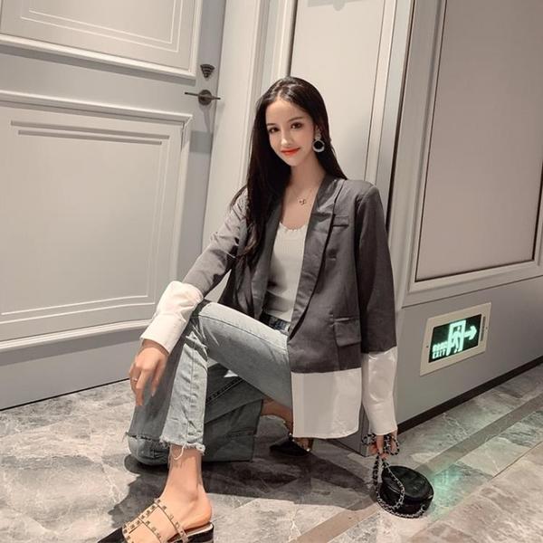 促銷 長袖上衣女秋季新款學生韓版寬松顯瘦小心機氣質拼接西裝外套