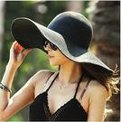 N2i 帽子 韓法式浪漫遮陽大草帽(黑)