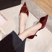 低跟鞋 網紅淺口尖頭低跟單鞋女2019春季新款晚晚鞋仙女風細跟性感溫柔鞋