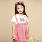 Azio 女童 洋裝 兔子蝴蝶結假兩件吊帶短袖洋裝(紅) Azio Kids 美國派 童裝