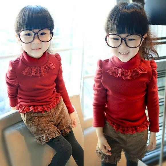 韓版《紅色蕾絲款》加絨~長袖上衣