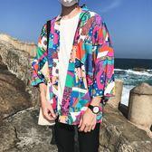 防曬衣男超薄七分袖夏季潮流風日系道袍和服男寬鬆港風開衫—聖誕交換禮物