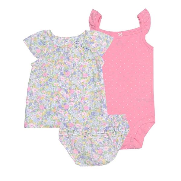 女寶寶套裝三件組 短袖上衣+包屁衣+內褲 綠碎花 | Carter s卡特童裝 (嬰幼兒/兒童/小孩)