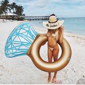游泳圈鑽石戒指游泳圈水上充氣成人浮排網紅拍照道具旅游攝影泳池浮床墊 數碼人生