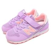 New Balance 慢跑鞋 996 NB 紫 粉紅 麂皮 魔鬼氈 寬楦頭 中童鞋 童鞋【PUMP306】 YV996M1W