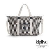 Kipling 黑白撞色格子手提側背包-大-ART L