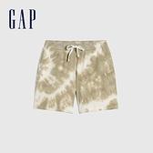 Gap女裝 碳素軟磨系列 Logo法式圈織軟休閒褲 683868-灰粽紮染
